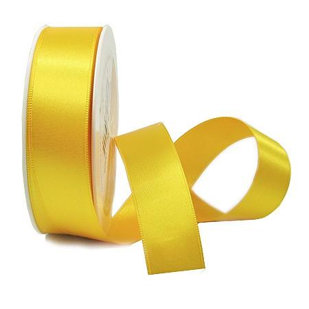 Satinband SINFINITY, hellgelb: 25mm breit / 25m-Rolle, mit feiner Webkante.