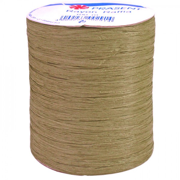 Raffia - RAYON, Bindebast: 10mm breit / 100m-Rolle, olivgrün