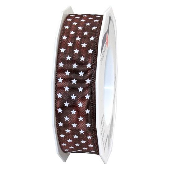 Weihnachtsband MINI-STARS: 25mm breit / 20m-Rolle, dunkelbraun