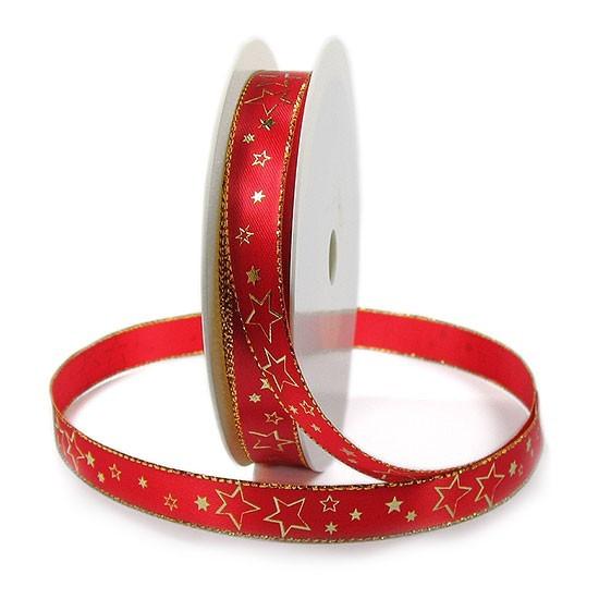 Weihnachtsband-CIELO, rot-gold: 15mm breit / 25m-Rolle, mit Drahtkante