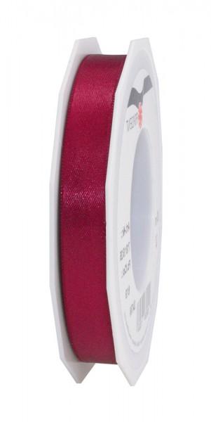Satinband-PRÄSENT, weinrot: 15mm breit / 25m-Rolle, mit feiner Webkante.