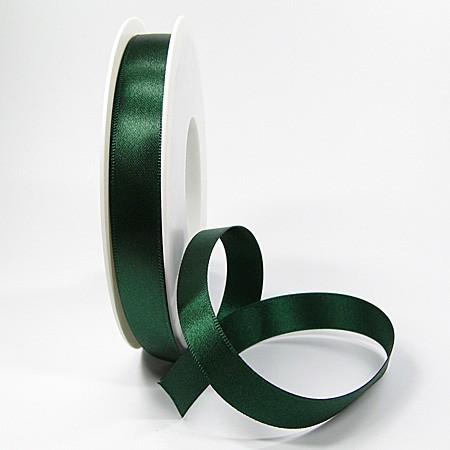 Satinband SINFINITY, tannengrün: 15mm breit / 25m-Rolle, mit feiner Webkante.