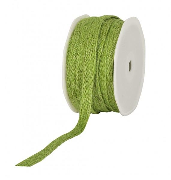 Jute-Flechtband, lindgrün: 12mm breit / 20m-Rolle