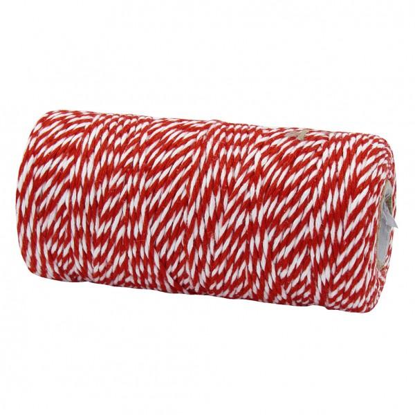 Bäckergarn, rot-weiß: 2mm breit / 100m-Rolle.