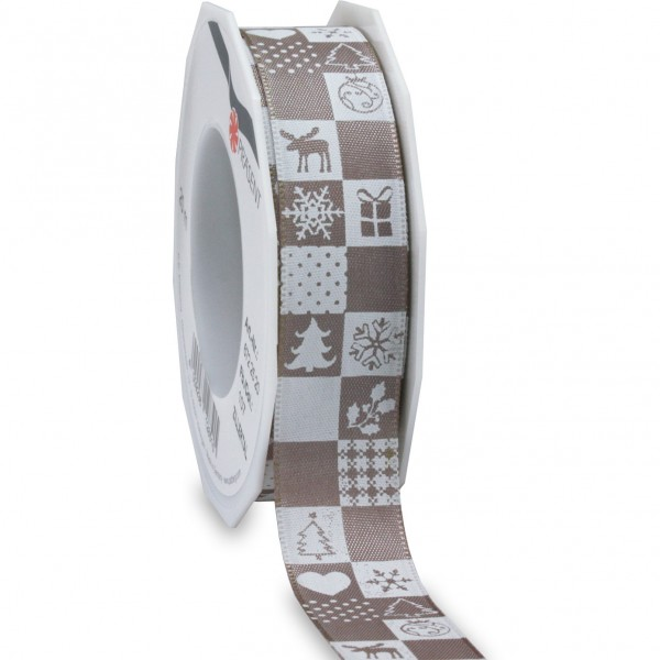 Weihnachtsband-ZILLERTAL: 25mm/20m-Rolle, sandstein/weiss