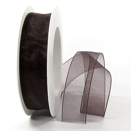 Organzaband, 25mm breit / 25m-Rolle, dunkelbraun