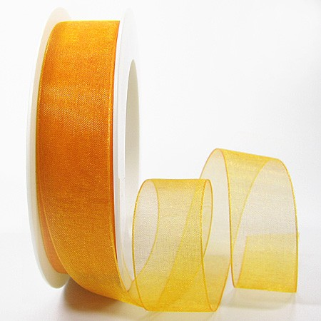 Organzaband mit Drahtkante, gelb: 25mm breit / 25m-Rolle
