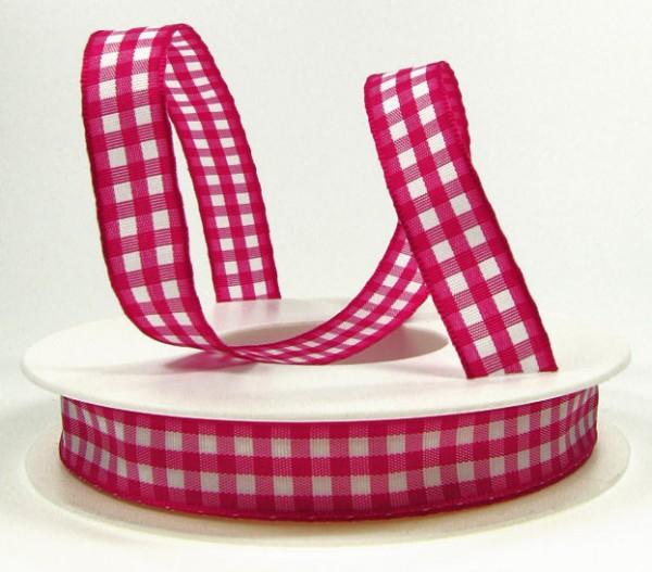 Karoband, pink-weiß: 15mm breit / 25m-Rolle, mit feiner Webkante