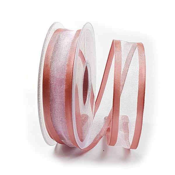 Florband, altrosa: 25mm breit / 25m-Rolle, mit Drahtkante.