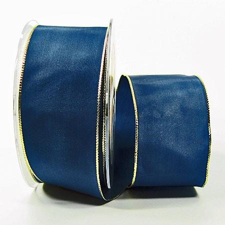Dekoband Basic: 50mm breit / 25m, blau-gold