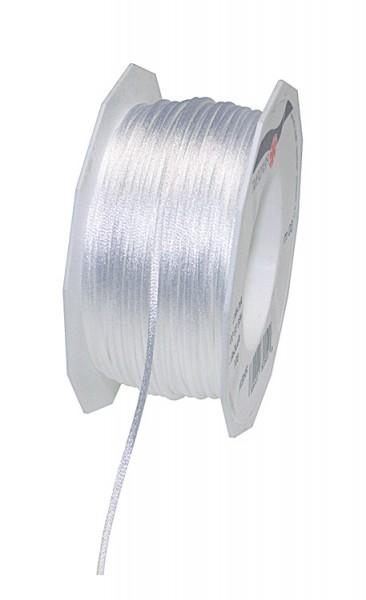 Satinkordel-RHEIN, weiss: 3 mm breit - 50-Meter-Rolle