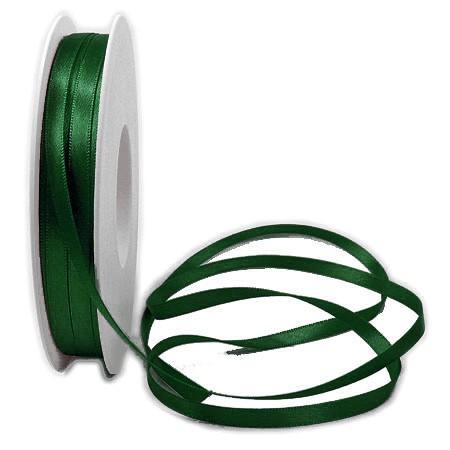 """Satinband, jagdgrün """"SATINA"""": 6 mm breit / 50 Meter, mit einfacher schlichter Webkante."""