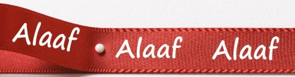 Karnevals-Satinband Alaaf: 15mm breit / 25m-Rolle: rot mit weißer Schrift