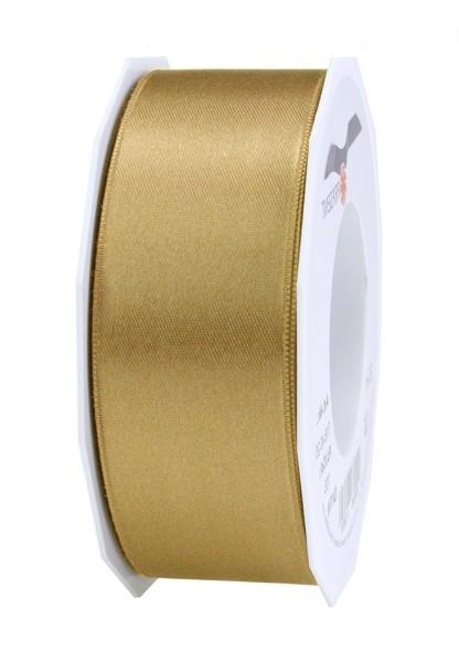 Satinband-PRÄSENT, gold: 40mm breit / 25m-Rolle, mit feiner Webkante.