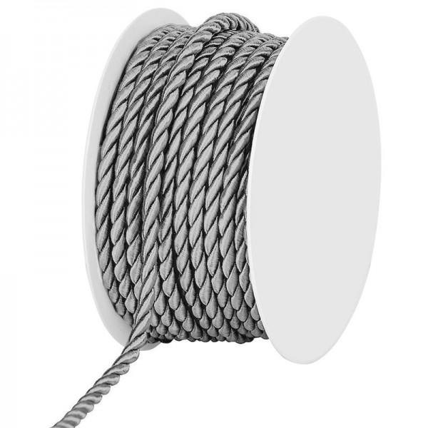 Kordel, einfarbig gedreht: 4mm breit Ø / 25m-Rolle, silber