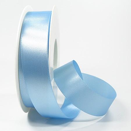 Satinband SINFINITY, hellblau: 25mm breit / 25m-Rolle, mit feiner Webkante.