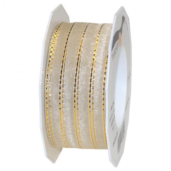 Richmond, creme-gold: 40mm breit / 20m-Rolle, mit Drahtkante.