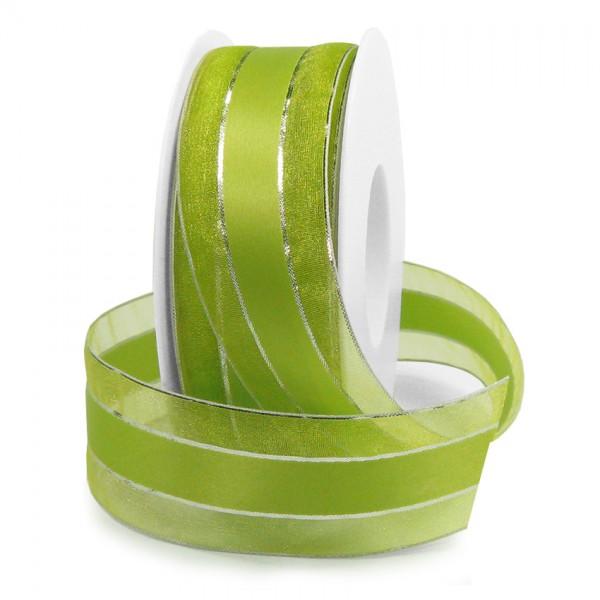 Dekorband-SHINY, lindgrün-silber: 38mm breit / 25m-Rolle