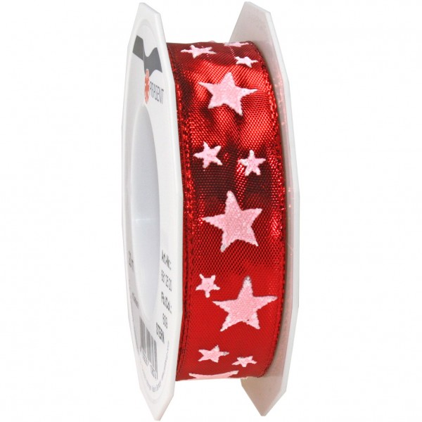 Weihnachtsband-STAR: 25mm breit / 20m-Rolle, mit Drahtkante - rot