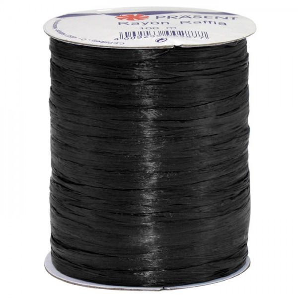 Raffia - RAYON, Bindebast: 5mm breit / 100m-Rolle, schwarz