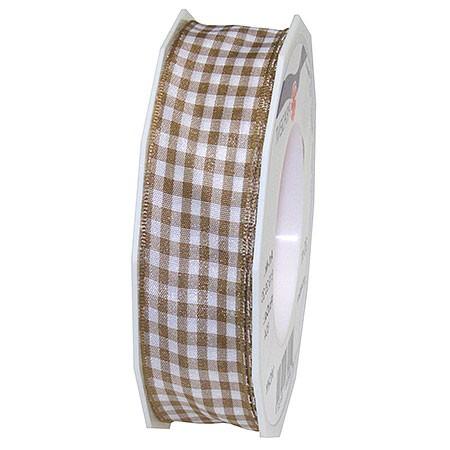 Vichy-Karoband, taupe-weiss: 25mm breit / 20m-Rolle