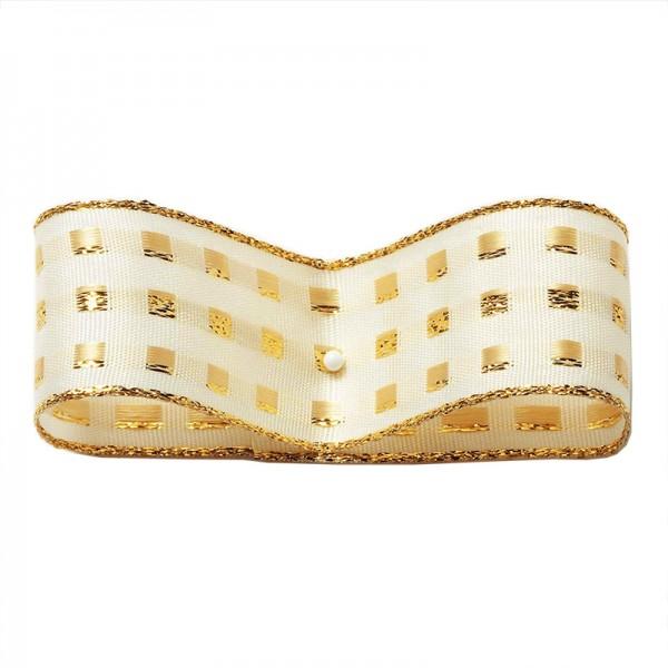 Dekorband-GLAMOUR, creme-gold: 25mm breit / 25m-Rolle, mit Drahtkante