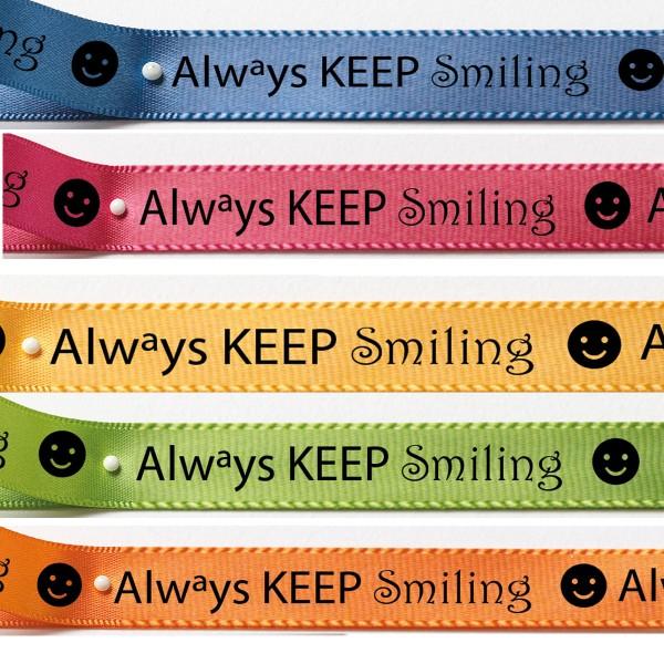 Satinband KEEP smiling: 15mm breit / 5x3m-Strängchen