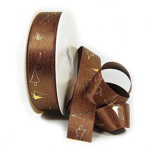 Satinband-TREES: 25mm breit / 25m-Rolle, braun-gold