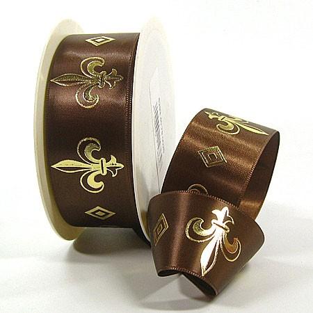 Fleur de Lys: Geschenkband aus Satin, 38mm breit / 25m-Rolle, braun-gold