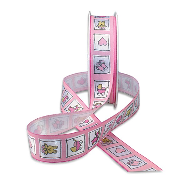 Babyband-NATALE: 25mm breit / 20m-Rolle, rosa