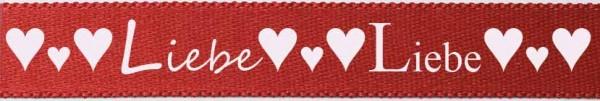 """Herzband """"Liebe"""", rot: 15mm breit - 25m-Rolle"""
