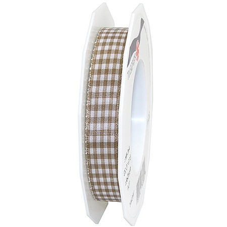 Vichy-Karoband, taupe-weiss: 15mm breit / 20m-Rolle