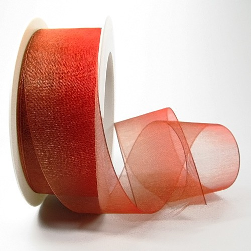 Organzaband-RAINBOW, rot-weinrot: 38mm breit / 25m-Rolle