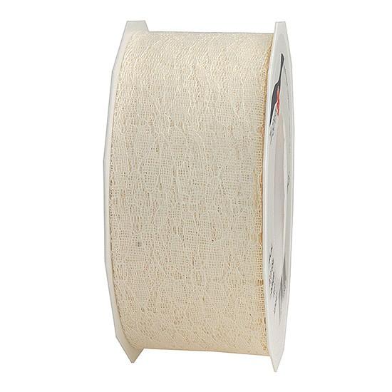 Spitzenband: 40mm breit / 25m-Rolle, creme