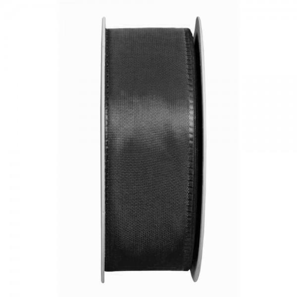 Taftband, schwarz: 40mm breit / 50m-Rolle, mit feiner Webkante.