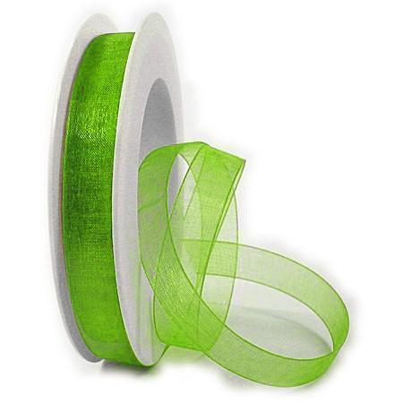 Organzaband mit echter Webkante: 15mm breit / 25m-Rolle, apfelgrün