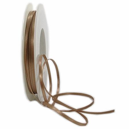 Satinband SINFINITY, bronze: 3mm breit / 50m-Rolle, mit feiner Webkante.