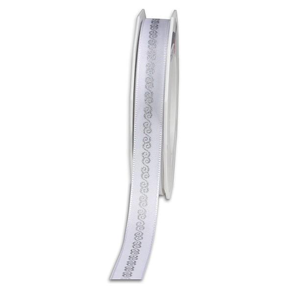 Dekorband MURNAU: 15mm breit / 20m-Rolle, weiß-silber