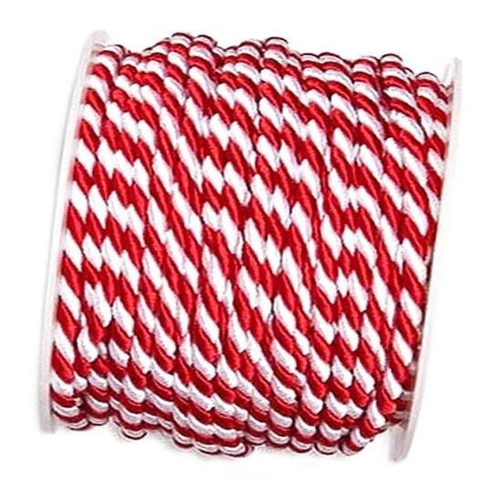 Kordel, rot-weiß: 6mm breit / 25m-Rolle.