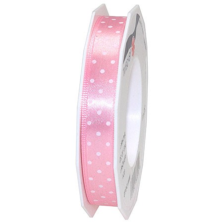 Pünktchenband, rosa: 15mm breit / 20m-Rolle.