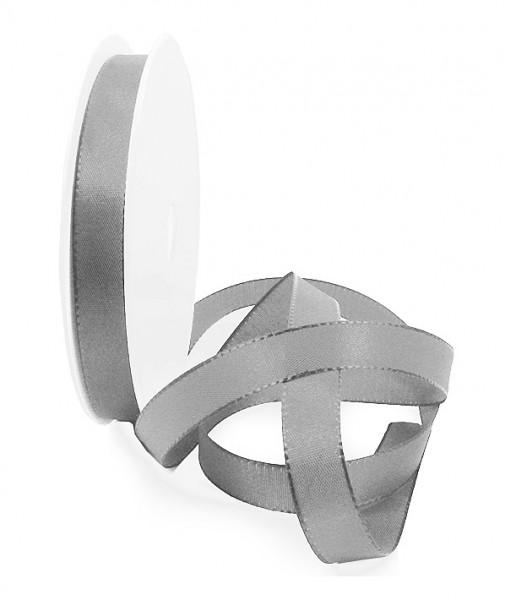 Taftband, grau: 10mm breit / 50-Rolle, mit feiner Webkante
