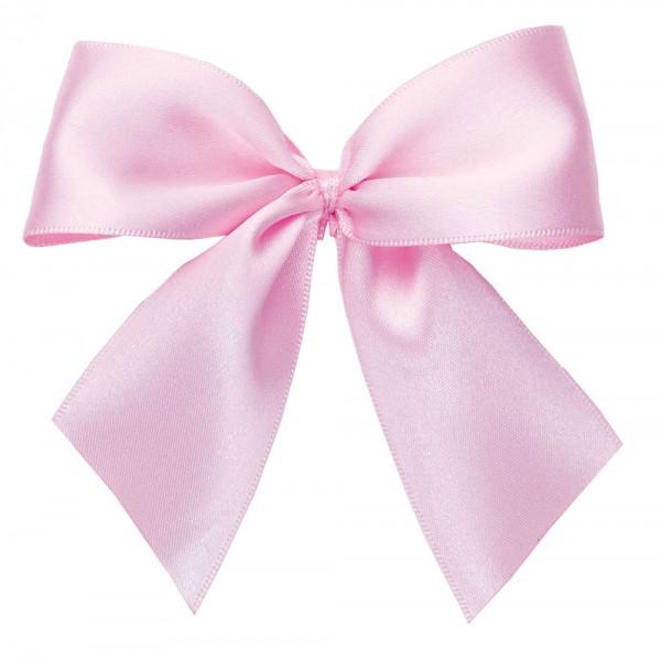 Fertigschleifen aus doppelseitigem Satinband, rosé mit 2 Flügeln: 25 Stück in Klarsicht-Box. Maße: von Flügel zu Flügel: ca. 10 cm