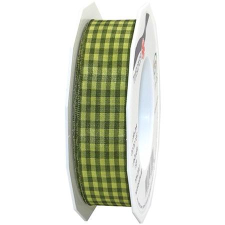 Vichy Multicolor, olivgrün: 25mm breit / 20m-Rolle