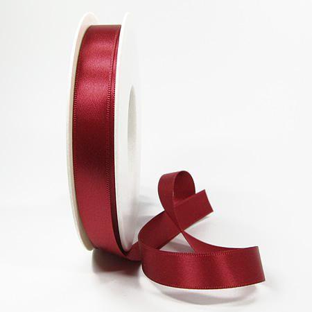 Satinband-SINFINITY, weinrot: 15mm breit / 25m-Rolle, mit feiner Webkante