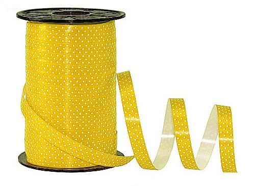 Poly-Pünktchen-Ringelband, gelb-weiß - 10mm breit / 200m-Rolle-weiß - 10mm breit / 200m-Rolle