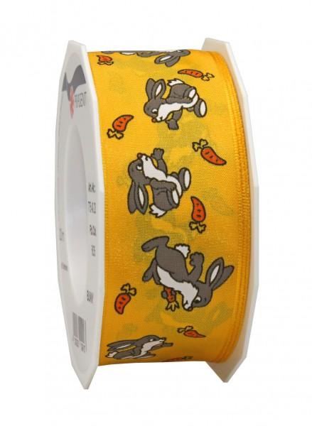Dekorband - BUNNY: 40mm breit / 20m-Rolle, mit Drahtkante, gelb-mehrfarbig.