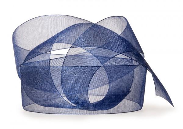 Organzaband-CHIFFON, dunkelblau: 40mm breit / 50m-Rolle, mit feiner Webkante.