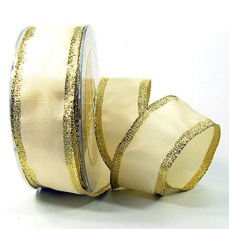 Dekorband Classic: 38mm breit / 25m, creme-gold