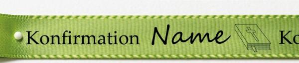 Beispiel Konfirmationsband, lindgrün: 15mm breit / 25m-Rolle