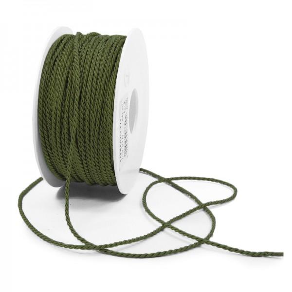 Kordel: 2mm breit / 50m-Rolle, moosgrün.